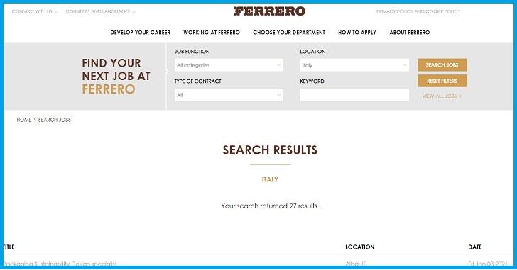 Ferrero Lavora Con Noi, Domanda di Lavoro